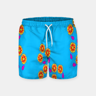 Thumbnail image of Abstract flowers on blue Swim Shorts, Live Heroes