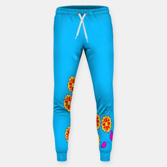Thumbnail image of Abstract flowers on blue Sweatpants, Live Heroes
