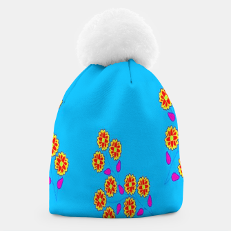 Thumbnail image of Abstract flowers on blue Beanie, Live Heroes