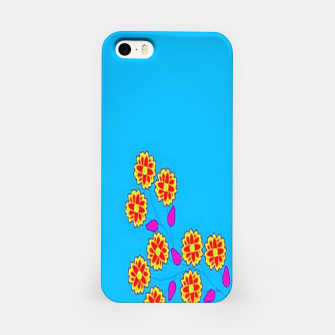 Thumbnail image of Abstract flowers on blue iPhone Case, Live Heroes