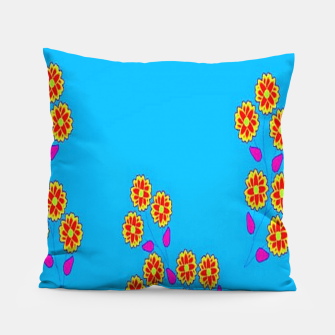 Thumbnail image of Abstract flowers on blue Pillow, Live Heroes