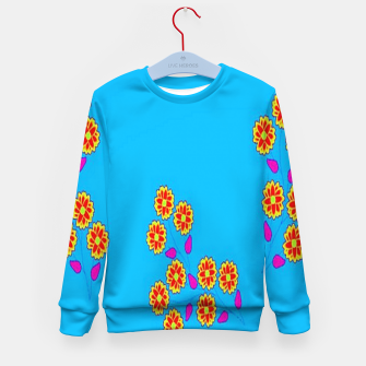 Thumbnail image of Abstract flowers on blue Kid's sweater, Live Heroes