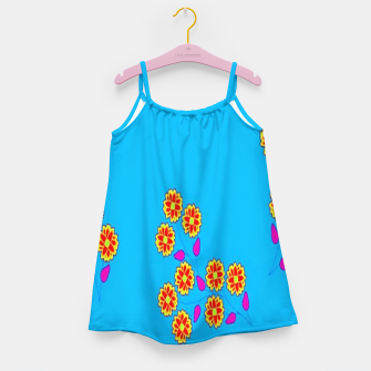 Thumbnail image of Abstract flowers on blue Girl's dress, Live Heroes