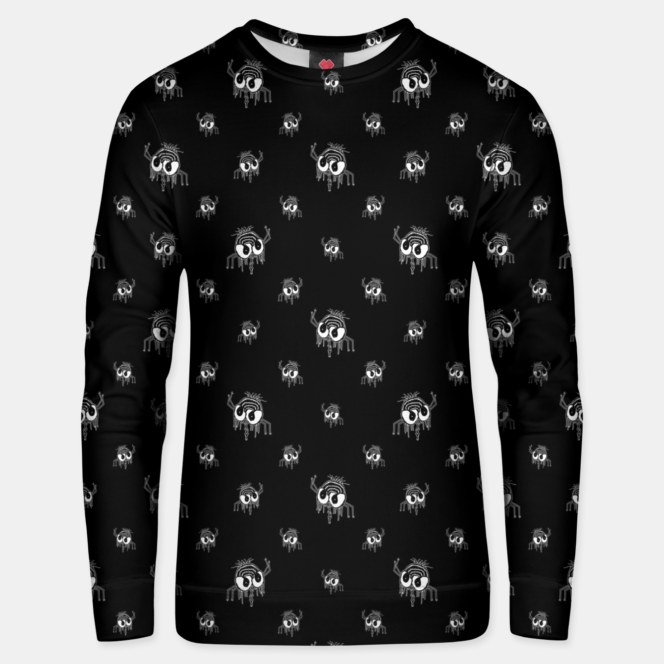 Image of Black and White Funny Monster Print Pattern Unisex sweater - Live Heroes
