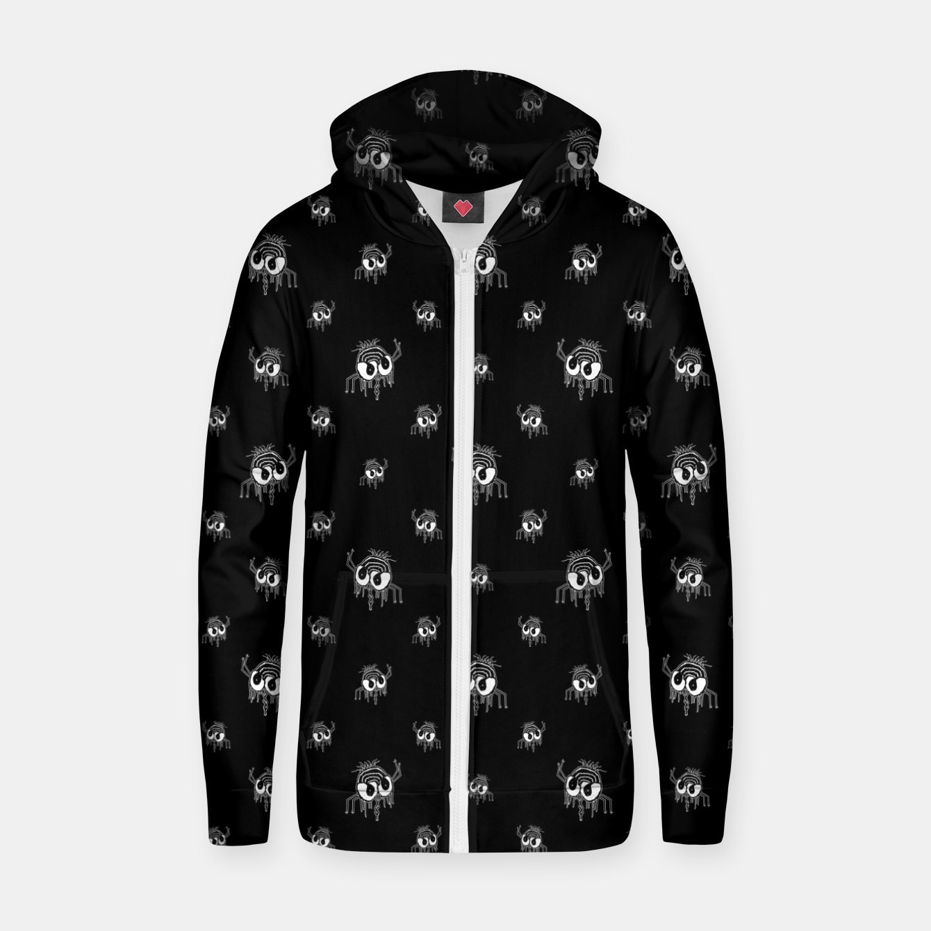 Image of Black and White Funny Monster Print Pattern Zip up hoodie - Live Heroes