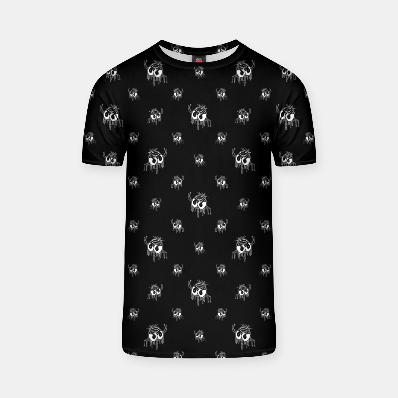 Image of Black and White Funny Monster Print Pattern T-shirt - Live Heroes
