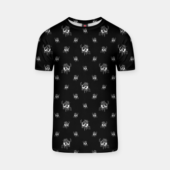 Miniaturka Black and White Funny Monster Print Pattern T-shirt, Live Heroes