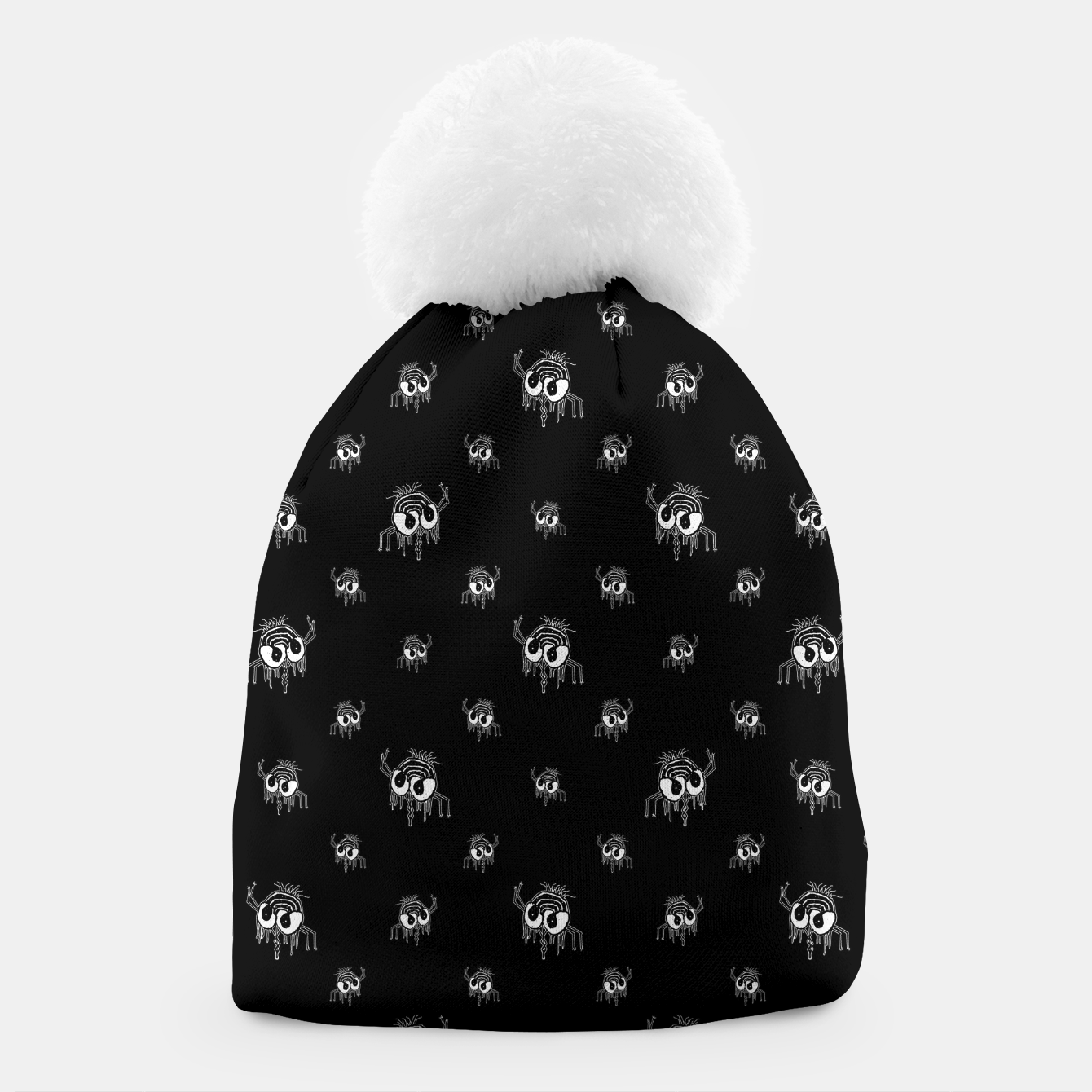 Image of Black and White Funny Monster Print Pattern Beanie - Live Heroes