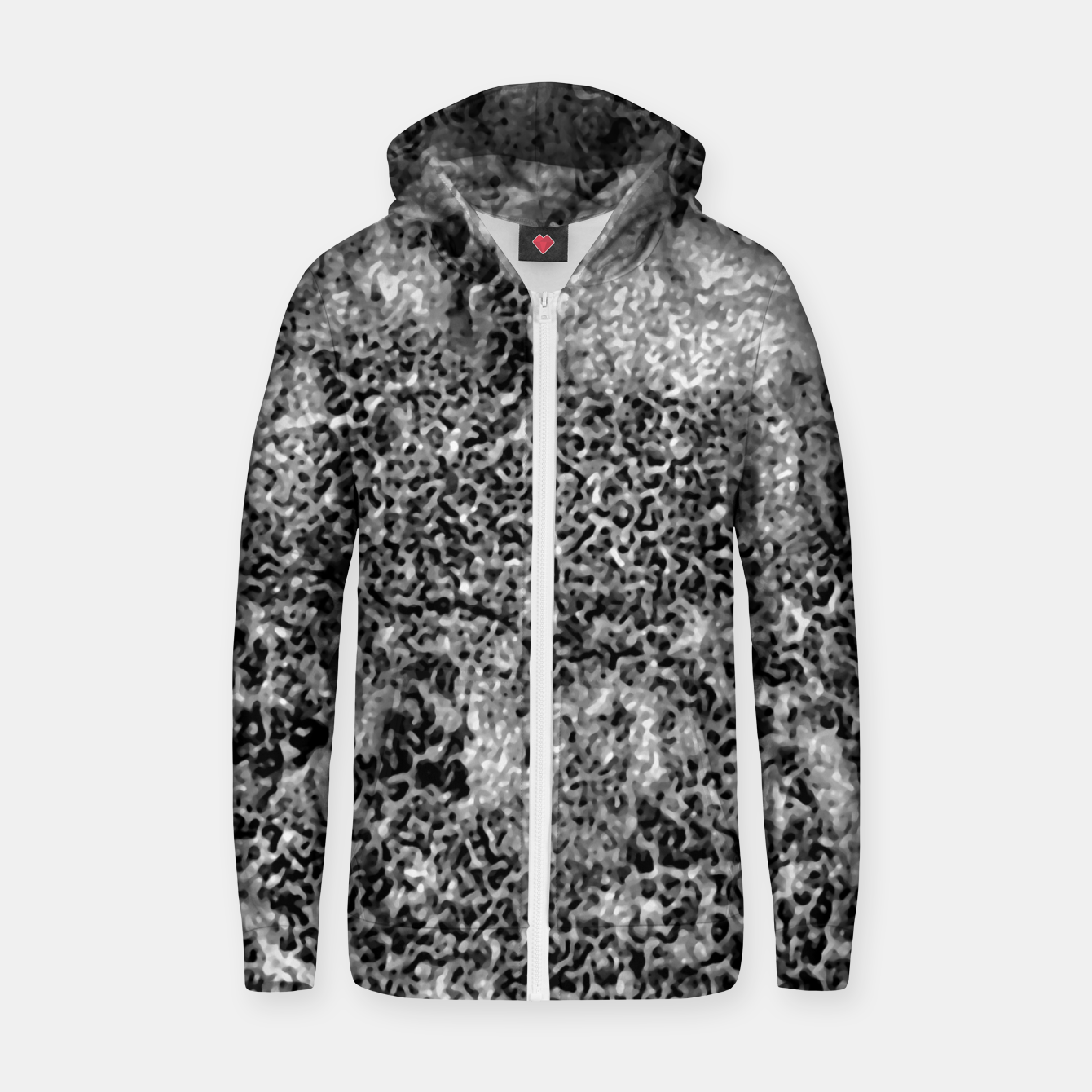 Image of Grey and White Grunge Camouflage Print Zip up hoodie - Live Heroes