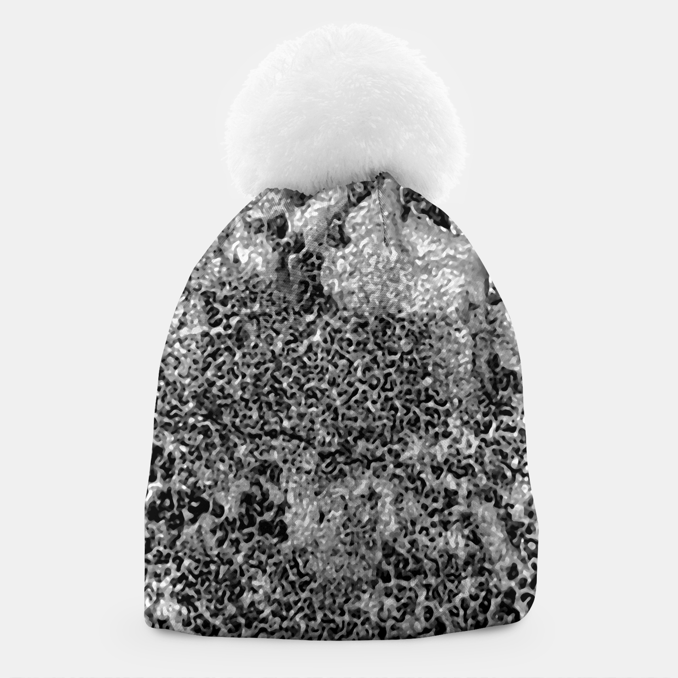 Image of Grey and White Grunge Camouflage Print Beanie - Live Heroes