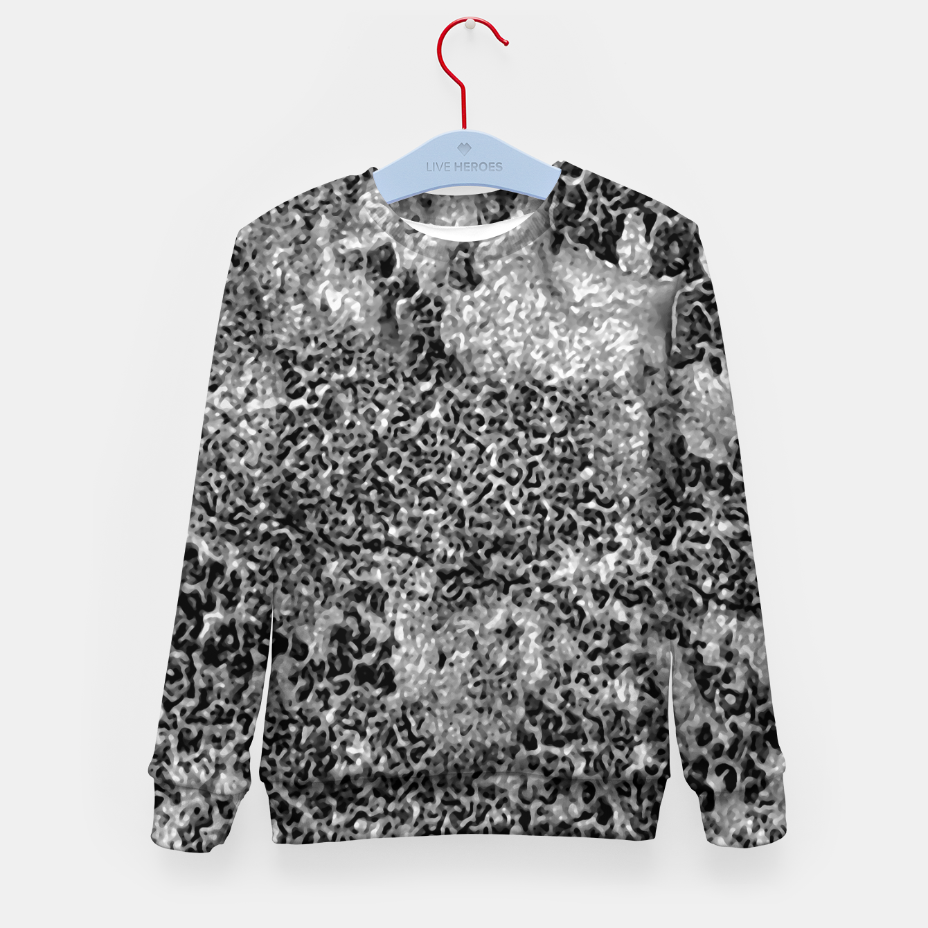 Image of Grey and White Grunge Camouflage Print Kid's sweater - Live Heroes