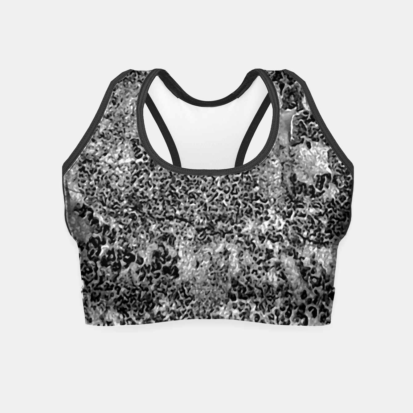 Image of Grey and White Grunge Camouflage Print Crop Top - Live Heroes