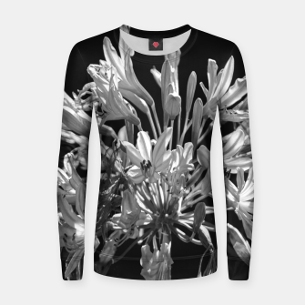 Thumbnail image of Black and White Lilies Botany Motif Print Women sweater, Live Heroes