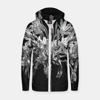Thumbnail image of Black and White Lilies Botany Motif Print Zip up hoodie, Live Heroes