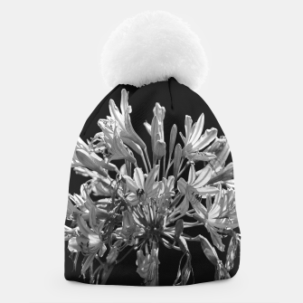 Thumbnail image of Black and White Lilies Botany Motif Print Beanie, Live Heroes