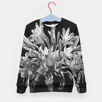 Thumbnail image of Black and White Lilies Botany Motif Print Kid's sweater, Live Heroes