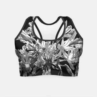 Thumbnail image of Black and White Lilies Botany Motif Print Crop Top, Live Heroes