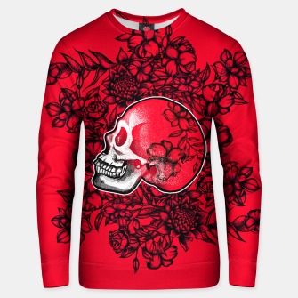 Thumbnail image of Red Skull and Flowers Unisex sweater, Live Heroes