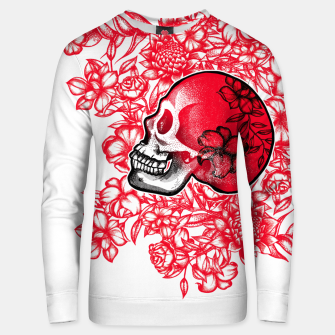 Thumbnail image of White Skull with Flowers Unisex sweater, Live Heroes
