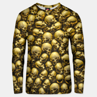 Thumbnail image of Totally Gothic Abstract Skulls Horror Pattern Gold Unisex sweater, Live Heroes