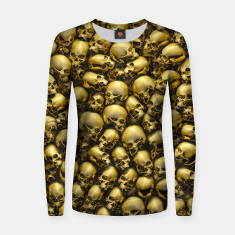 Thumbnail image of Totally Gothic Abstract Skulls Horror Pattern Gold Women sweater, Live Heroes