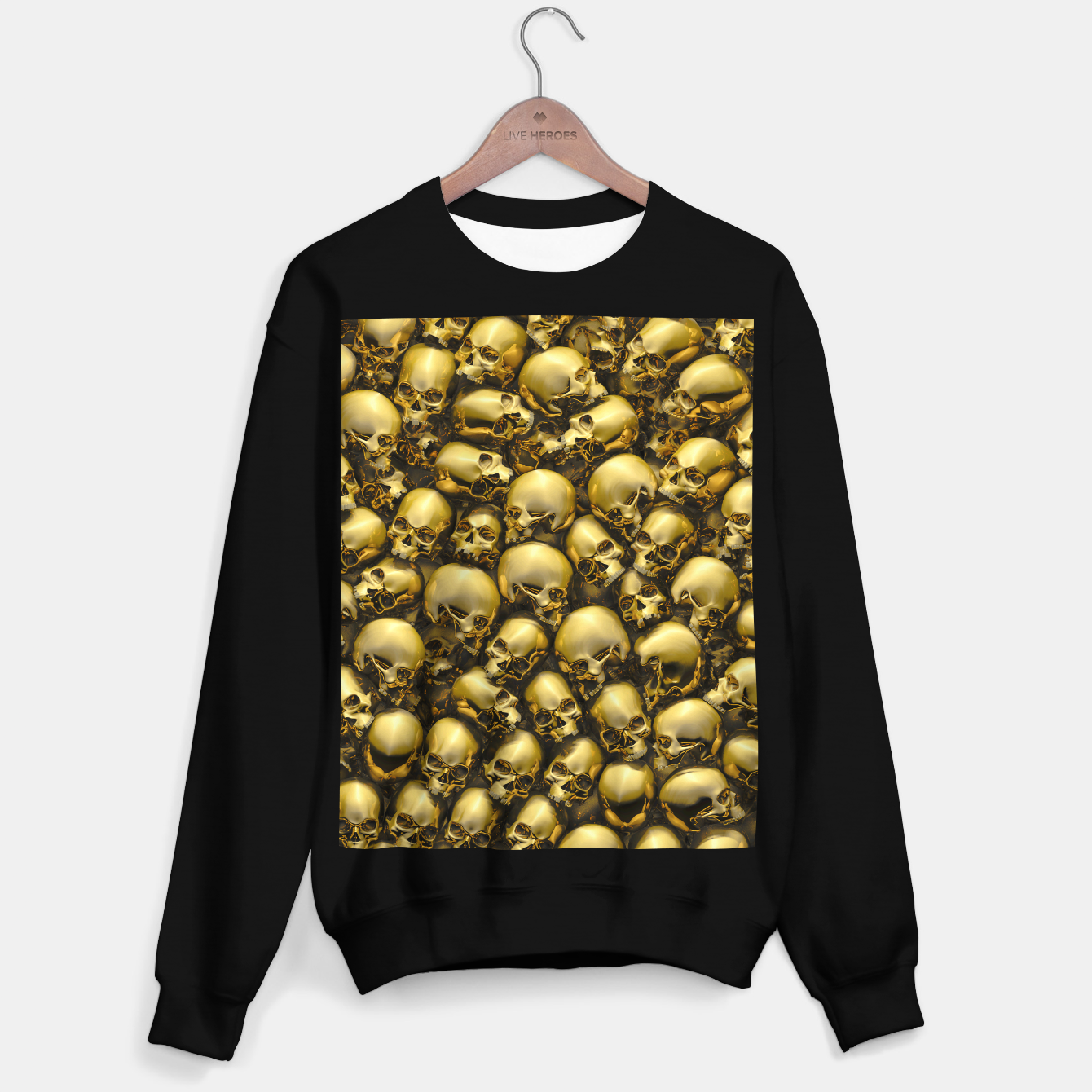 Image of Totally Gothic Abstract Skulls Horror Pattern Gold Sweater regular - Live Heroes