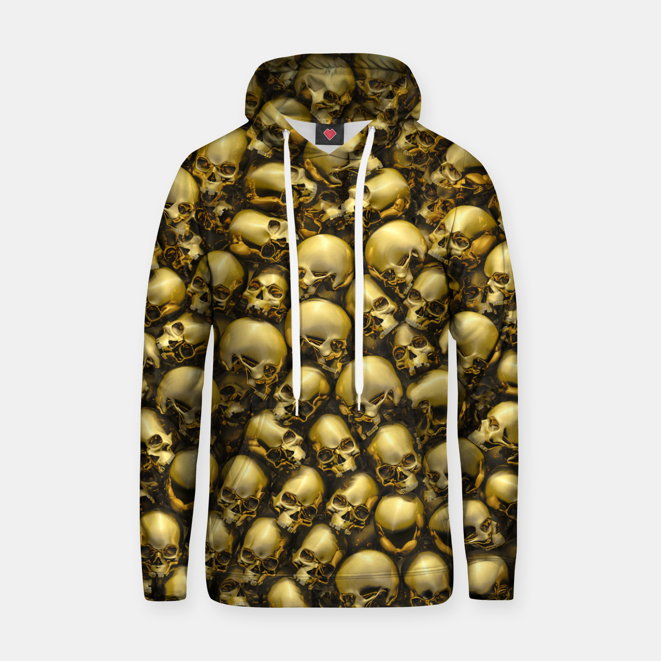 Image of Totally Gothic Abstract Skulls Horror Pattern Gold Hoodie - Live Heroes