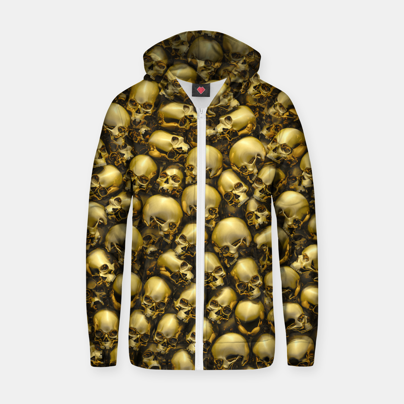 Image of Totally Gothic Abstract Skulls Horror Pattern Gold Zip up hoodie - Live Heroes
