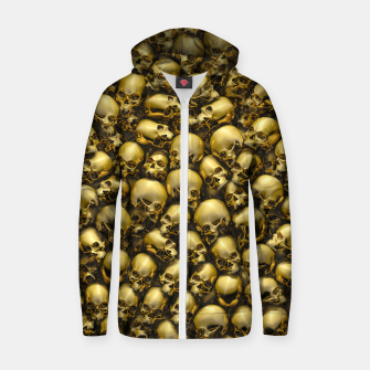 Thumbnail image of Totally Gothic Abstract Skulls Horror Pattern Gold Zip up hoodie, Live Heroes