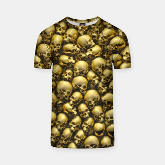 Thumbnail image of Totally Gothic Abstract Skulls Horror Pattern Gold T-shirt, Live Heroes