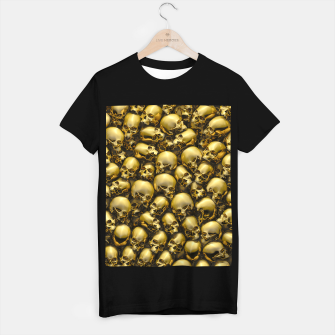 Thumbnail image of Totally Gothic Abstract Skulls Horror Pattern Gold T-shirt regular, Live Heroes