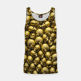Thumbnail image of Totally Gothic Abstract Skulls Horror Pattern Gold Tank Top, Live Heroes