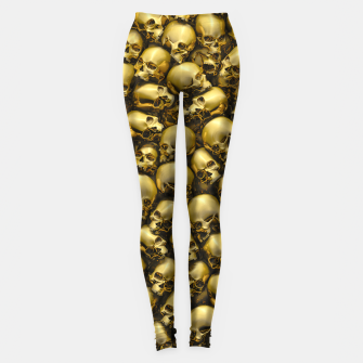 Thumbnail image of Totally Gothic Abstract Skulls Horror Pattern Gold Leggings, Live Heroes