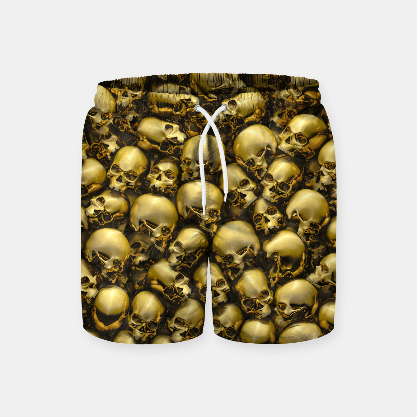 Image of Totally Gothic Abstract Skulls Horror Pattern Gold Swim Shorts - Live Heroes