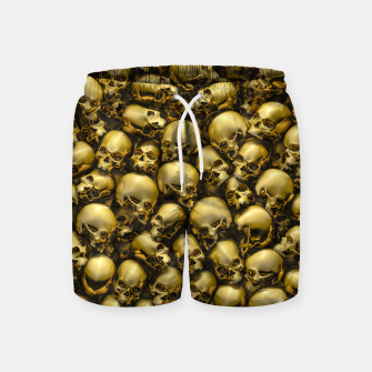 Thumbnail image of Totally Gothic Abstract Skulls Horror Pattern Gold Swim Shorts, Live Heroes