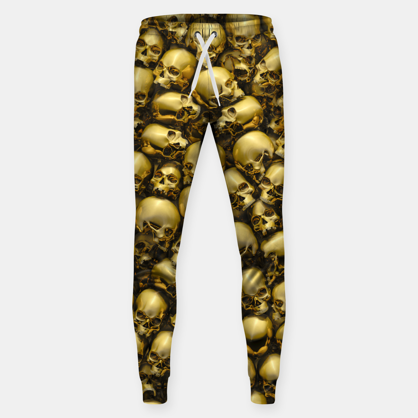Image of Totally Gothic Abstract Skulls Horror Pattern Gold Sweatpants - Live Heroes