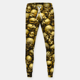 Thumbnail image of Totally Gothic Abstract Skulls Horror Pattern Gold Sweatpants, Live Heroes