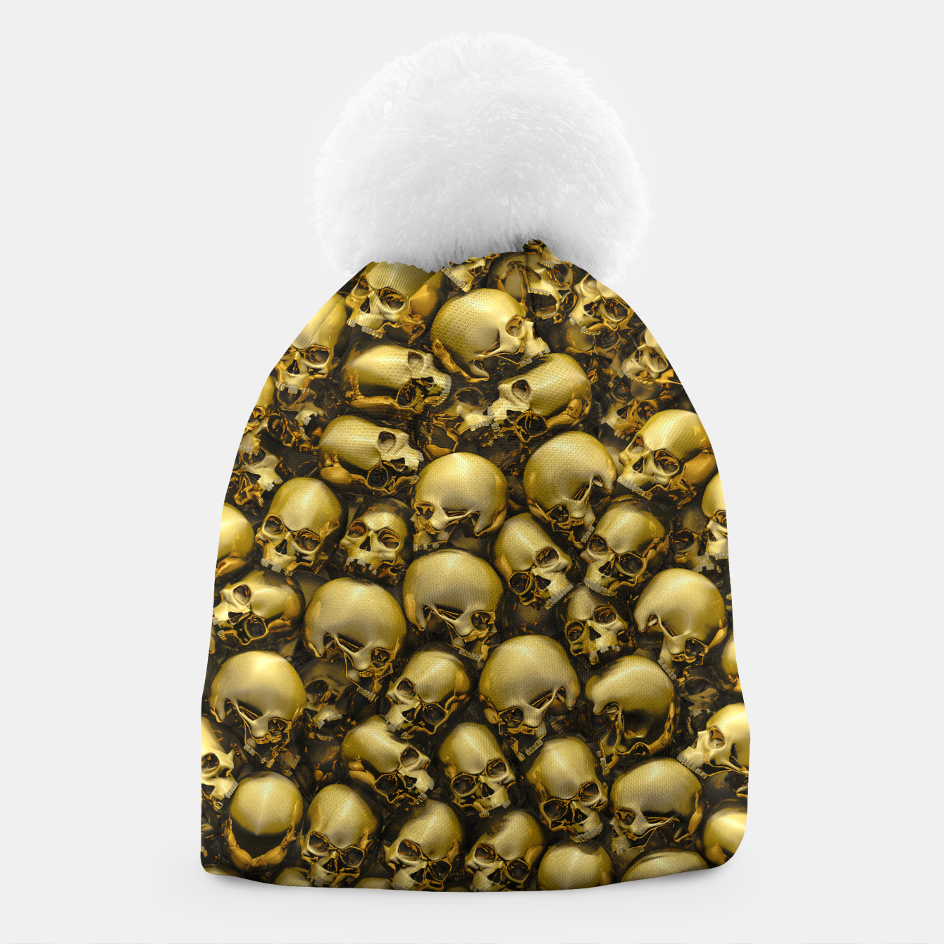 Image of Totally Gothic Abstract Skulls Horror Pattern Gold Beanie - Live Heroes