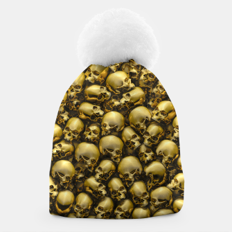 Thumbnail image of Totally Gothic Abstract Skulls Horror Pattern Gold Beanie, Live Heroes