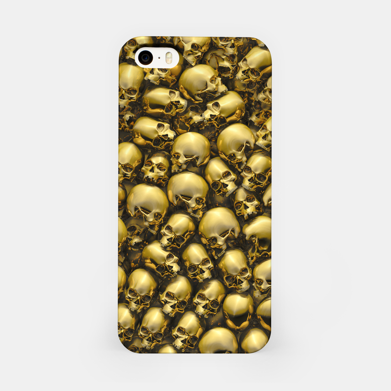 Image of Totally Gothic Abstract Skulls Horror Pattern Gold iPhone Case - Live Heroes