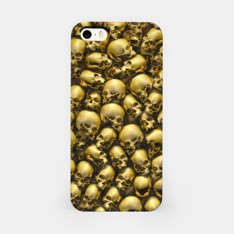 Thumbnail image of Totally Gothic Abstract Skulls Horror Pattern Gold iPhone Case, Live Heroes