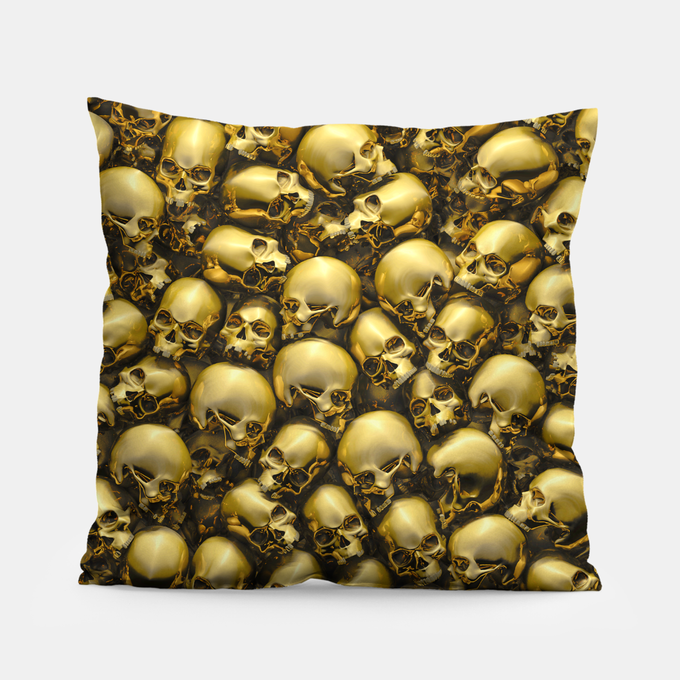 Image of Totally Gothic Abstract Skulls Horror Pattern Gold Pillow - Live Heroes