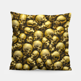 Thumbnail image of Totally Gothic Abstract Skulls Horror Pattern Gold Pillow, Live Heroes