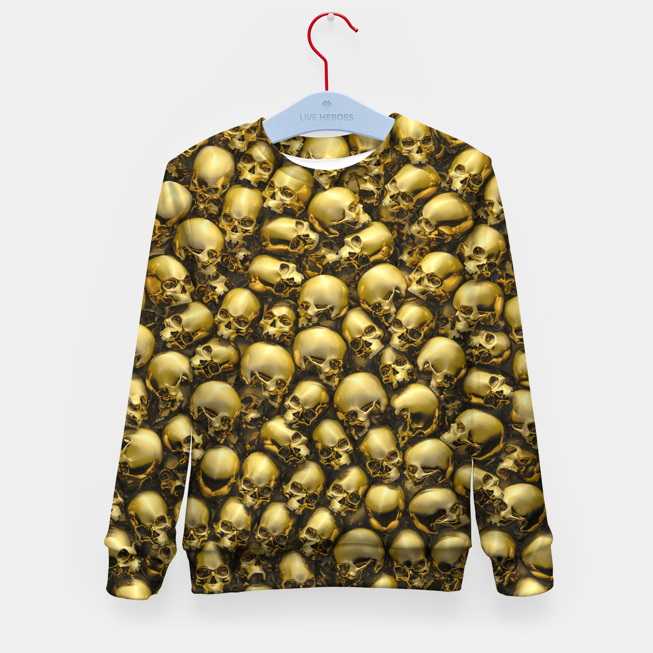 Image of Totally Gothic Abstract Skulls Horror Pattern Gold Kid's sweater - Live Heroes