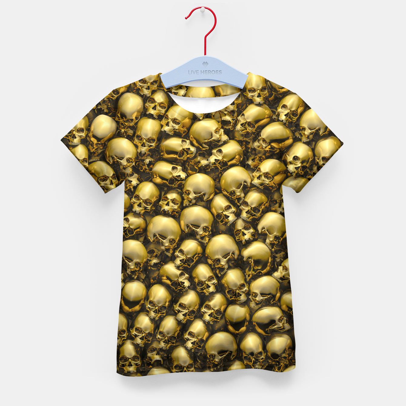 Image of Totally Gothic Abstract Skulls Horror Pattern Gold Kid's t-shirt - Live Heroes