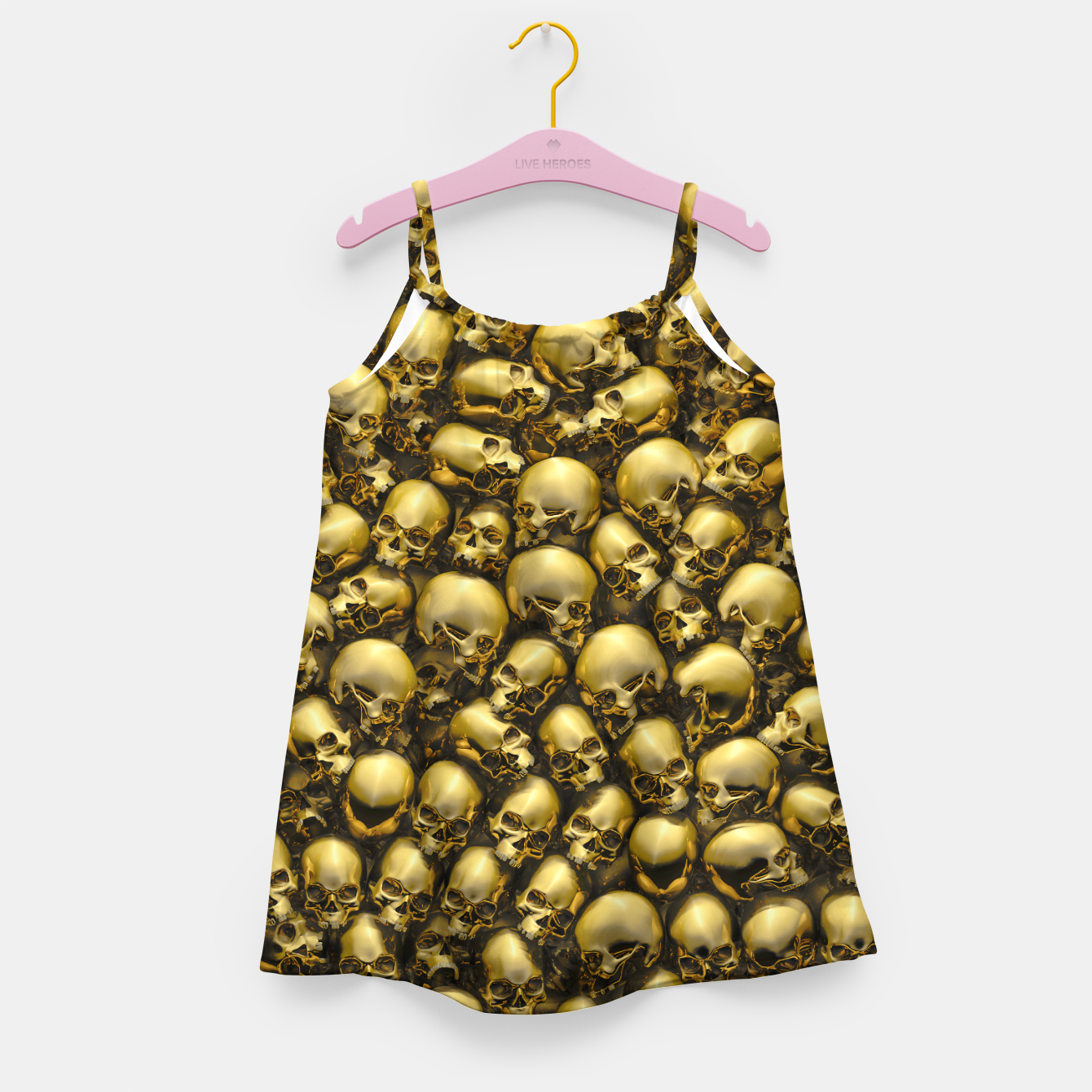 Image of Totally Gothic Abstract Skulls Horror Pattern Gold Girl's dress - Live Heroes