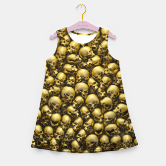 Thumbnail image of Totally Gothic Abstract Skulls Horror Pattern Gold Girl's summer dress, Live Heroes
