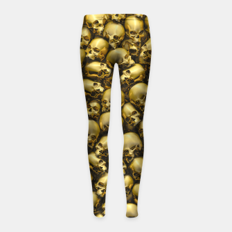 Thumbnail image of Totally Gothic Abstract Skulls Horror Pattern Gold Girl's leggings, Live Heroes