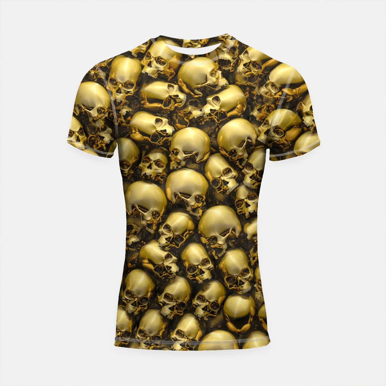 Image of Totally Gothic Abstract Skulls Horror Pattern Gold Shortsleeve rashguard - Live Heroes