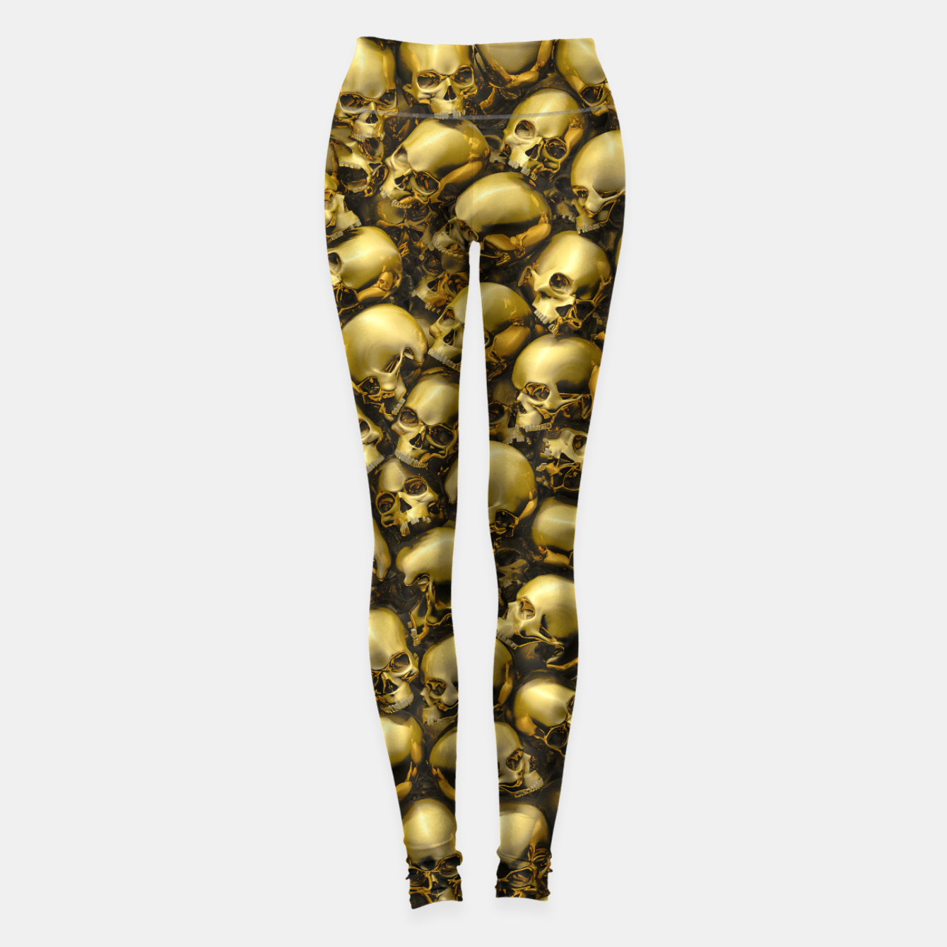 Image of Totally Gothic Abstract Skulls Horror Pattern Gold Leggings - Live Heroes